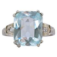 Bryan & Co. Art Deco 4.55 Carat Aquamarine Diamond 14 Karat Gold Cocktail Ring