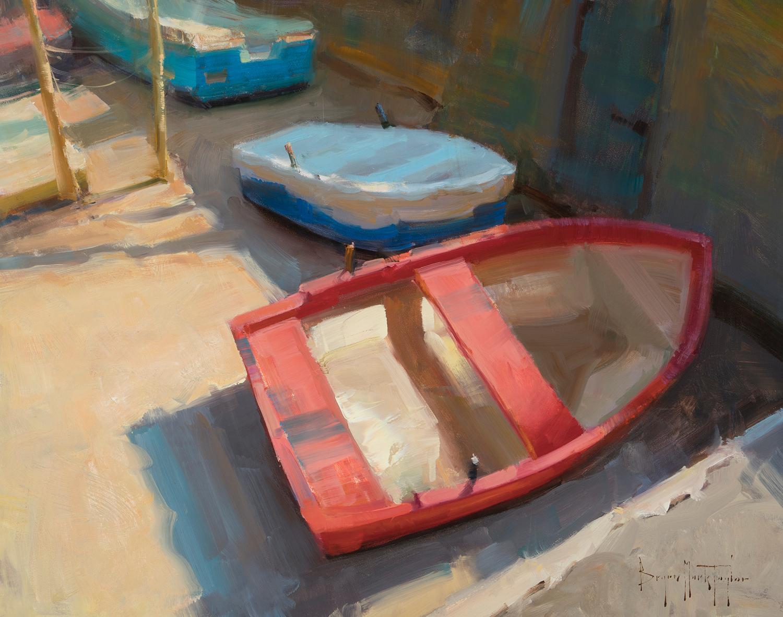 """Amalfi Dry Dock"" Contemporary Impressionist  Plein Air Oil of Italy"