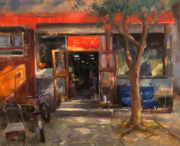"Bryan Mark Taylor Landscape Painting - Contemporary Impressionist China Scene ""Dumpling Shop"" Plein Air Oil"