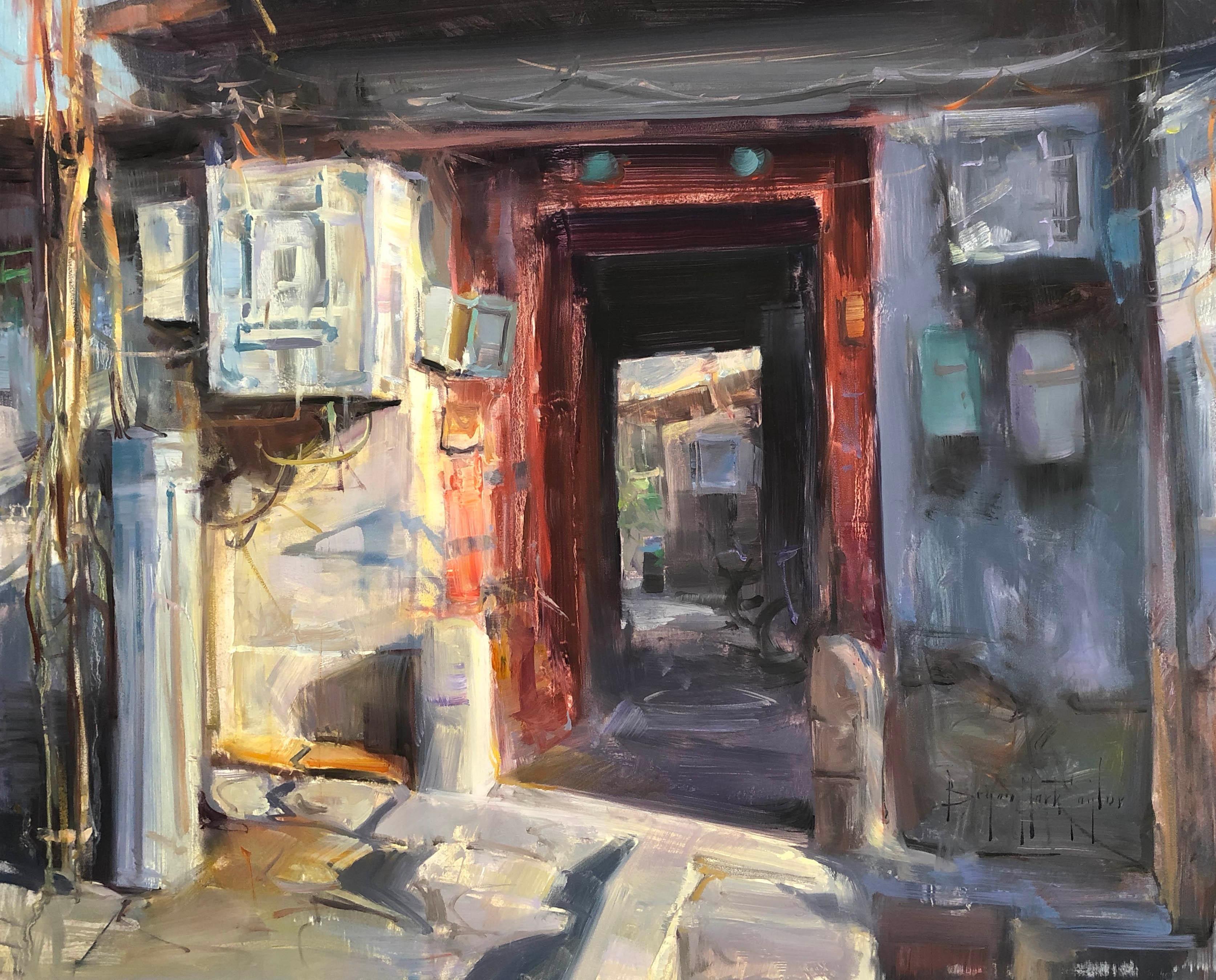 """Contemporary Impressionist China Scene """"Enter The Dragon"""" Plein Air Oil"""