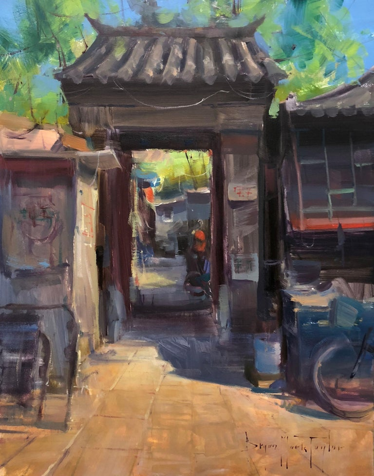 "Bryan Mark Taylor Landscape Painting - Contemporary Impressionist China Scene ""Front Gate"" Plein Air Oil"