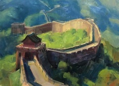 "Contemporary Impressionist China Scene ""The Great Wall"" Plein Air Oil"