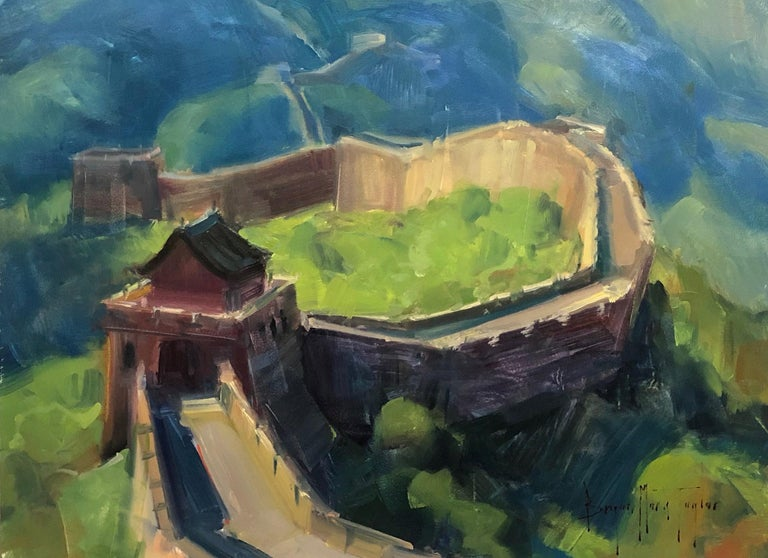 """Bryan Mark Taylor Landscape Painting - Contemporary Impressionist China Scene """"The Great Wall"""" Plein Air Oil"""