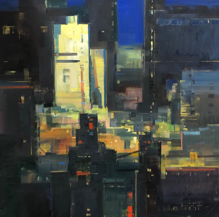 """Bryan Mark Taylor Landscape Painting - Modern Abstract Impressionist Cityscape """"Metropolis""""  Oil on Panel Night Scene"""