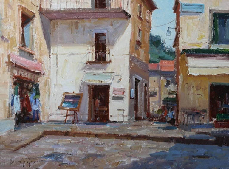 """""""Corner Shop"""" is a fine example of Bryan Mark Taylor's modern approach to Impressionism.  This sun drenched oil on panel packs a lot of the scenic beauty of a uniquely Amalfi Coast piazza in deep blues, purples, and white highlights. Painted from a"""