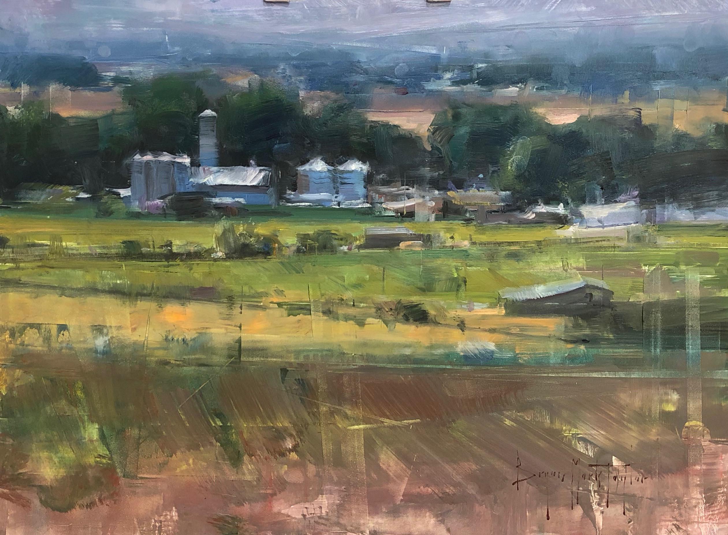 """Modern Impressionist American Plein air Landscape oil """"Green Farmland"""""""