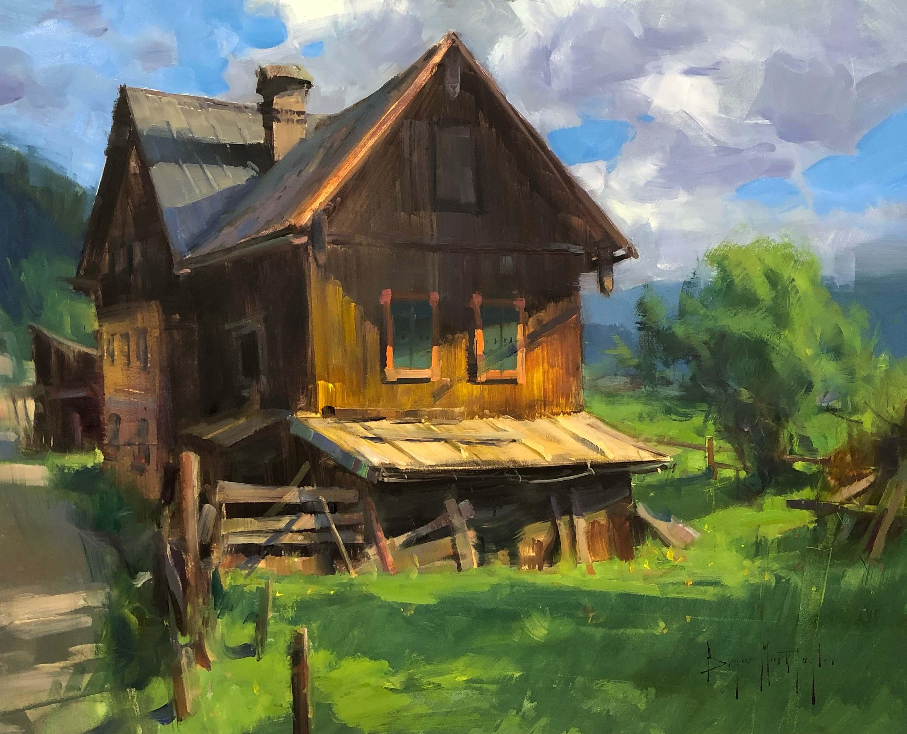 "Modern Impressionist Austrian Plein air Landscape oil ""Saltzkammergut Farm"""