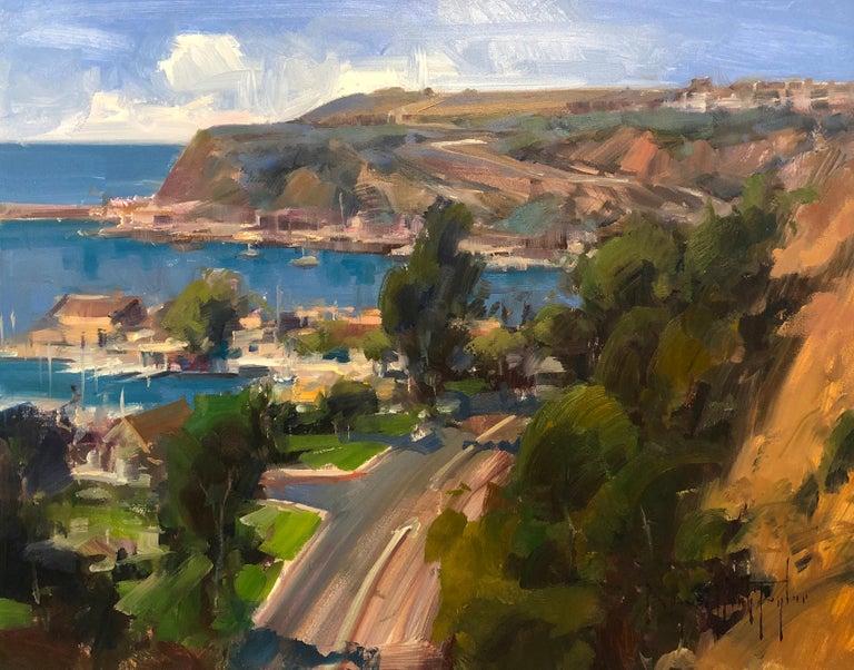 "Bryan Mark Taylor Landscape Painting - Modern Impressionist California Seascape ""Dana Point Overlook"""
