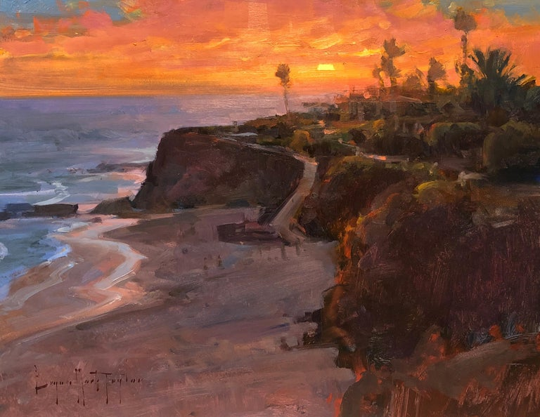 """Bryan Mark Taylor Landscape Painting - Modern Impressionist California Seascape """"View From The Montage"""""""""""