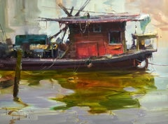 "Modern Impressionist China River Scene ""Red Boat"" Plein Air Oil"