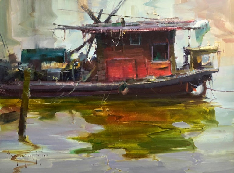 """Bryan Mark Taylor Landscape Painting - Modern Impressionist China River Scene """"Red Boat"""" Plein Air Oil"""