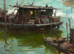 "Modern Impressionist China River Scene ""The Light Is On"" Plein Air Oil"