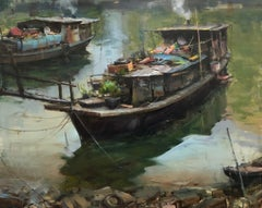 "Modern Impressionist China River Scene ""Treasure Boat"" Plein Air Oil"