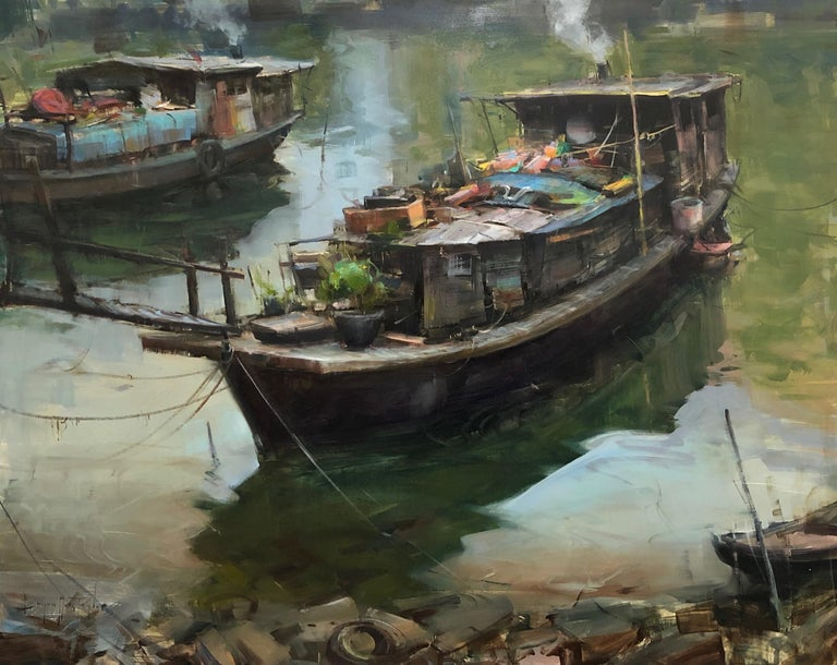 "Bryan Mark Taylor Landscape Painting - Modern Impressionist China River Scene ""Treasure Boat"" Plein Air Oil"