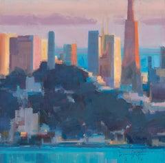 "Modern Impressionist Cityscape ""Bay City Skyline"" Plein Air Oil of San Francisco"