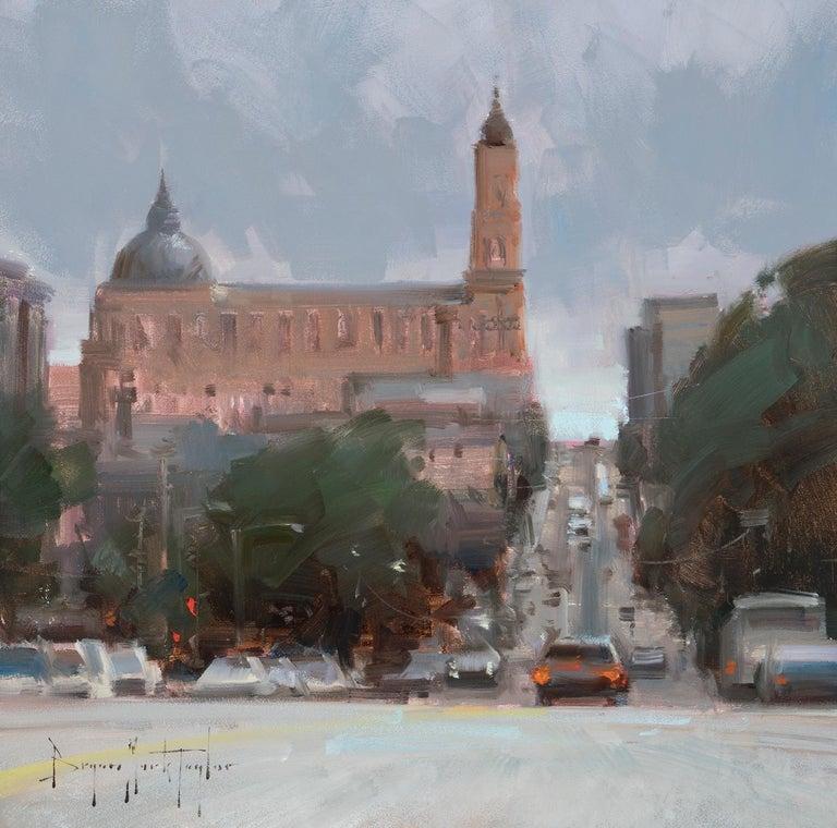 "Bryan Mark Taylor Landscape Painting - Modern Impressionist Cityscape ""Driving Down Fulton Street"" Plein Air Oil"