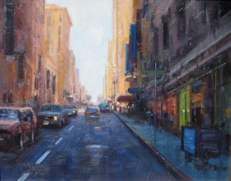 """""""Driving Into The Light"""" is a fine example of Bryan Mark Taylor's modern approach to Impressionism.  This relatively small oil on panel packs a lot of the modern energy of a dynamic San Francisco in a cityscape of deep blues, tans, and red"""