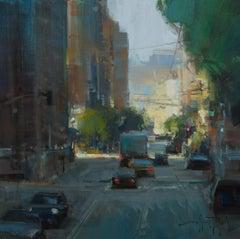 "Modern Impressionist Cityscape ""Market Street Light"" Plein Air Oil San Francisco"