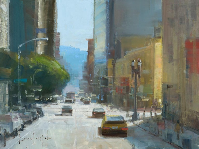 """Bryan Mark Taylor Landscape Painting - Modern Impressionist Cityscape """"Morning Commute"""" Plein Air Oil"""
