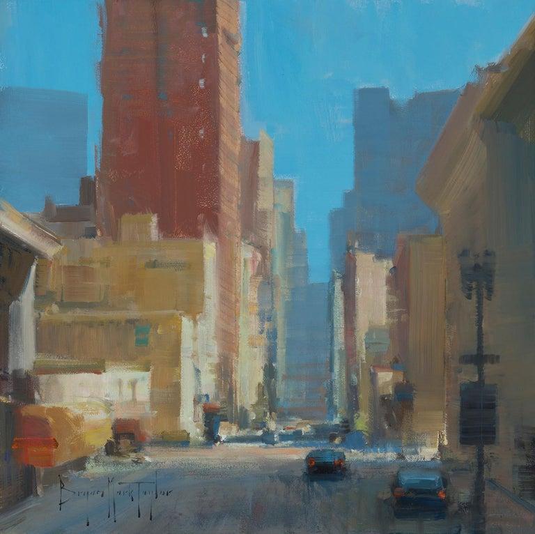 "Bryan Mark Taylor Landscape Painting - Modern Impressionist Cityscape ""Morning Sun"" Plein Air Oil of San Francisco"