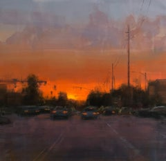 "Modern Impressionist Cityscape ""Newport Sunset"" Plein Air Oil"
