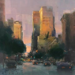 "Modern Impressionist Cityscape ""San Diego Downtown Sunset"" Plein Air Oil"