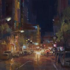 "Modern Impressionist Cityscape ""San Diego Nights"" Plein Air Oil"