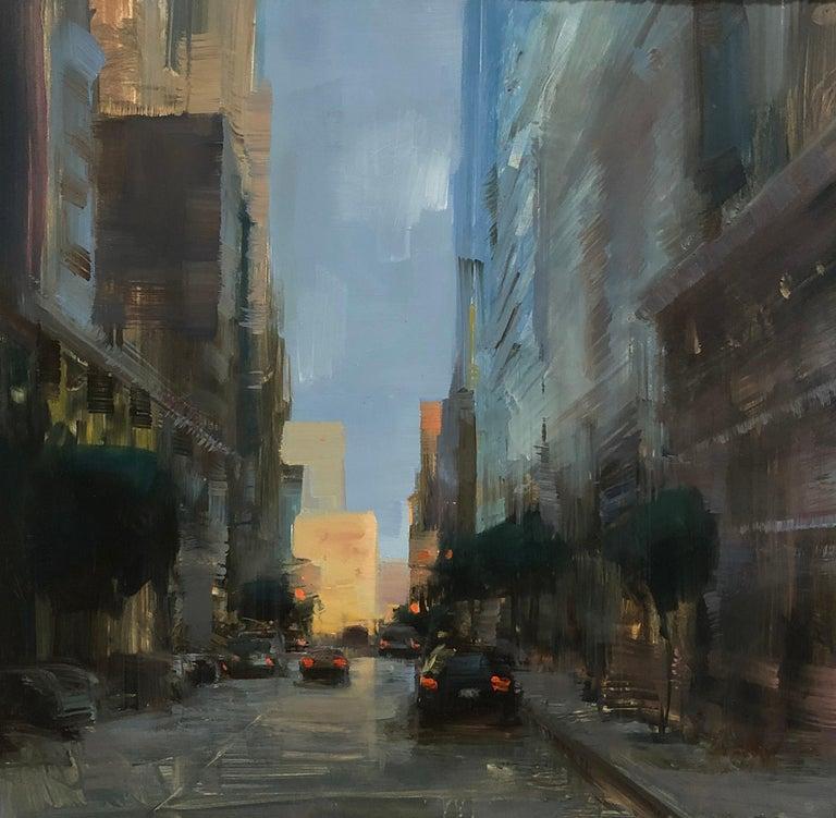 "Bryan Mark Taylor Landscape Painting - Modern Impressionist Cityscape ""San Francisco Downtown"" Plein Air Oil"