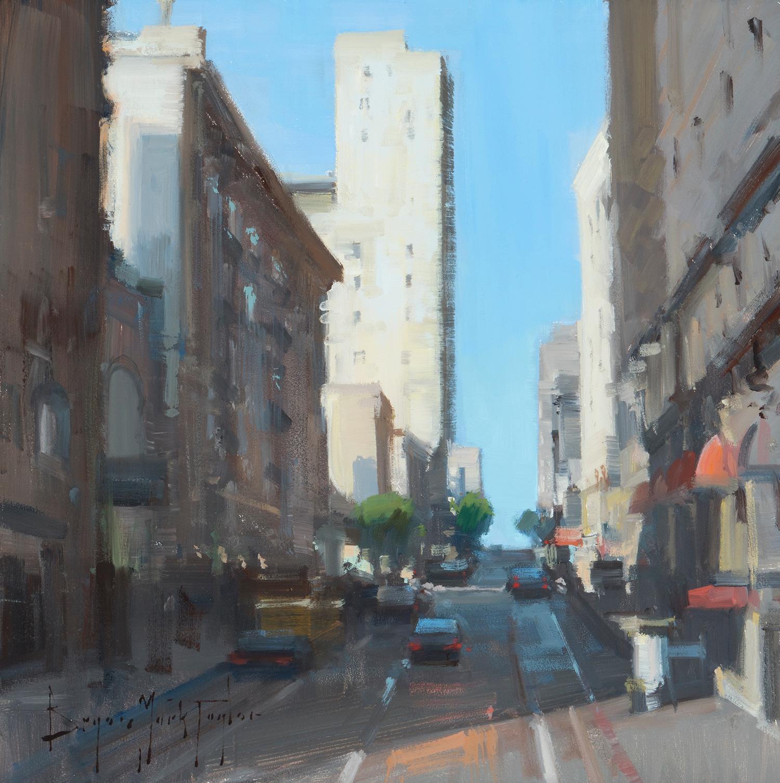 "Modern Impressionist Cityscape ""Up The Hill"" Plein Air Oil San Francisco"
