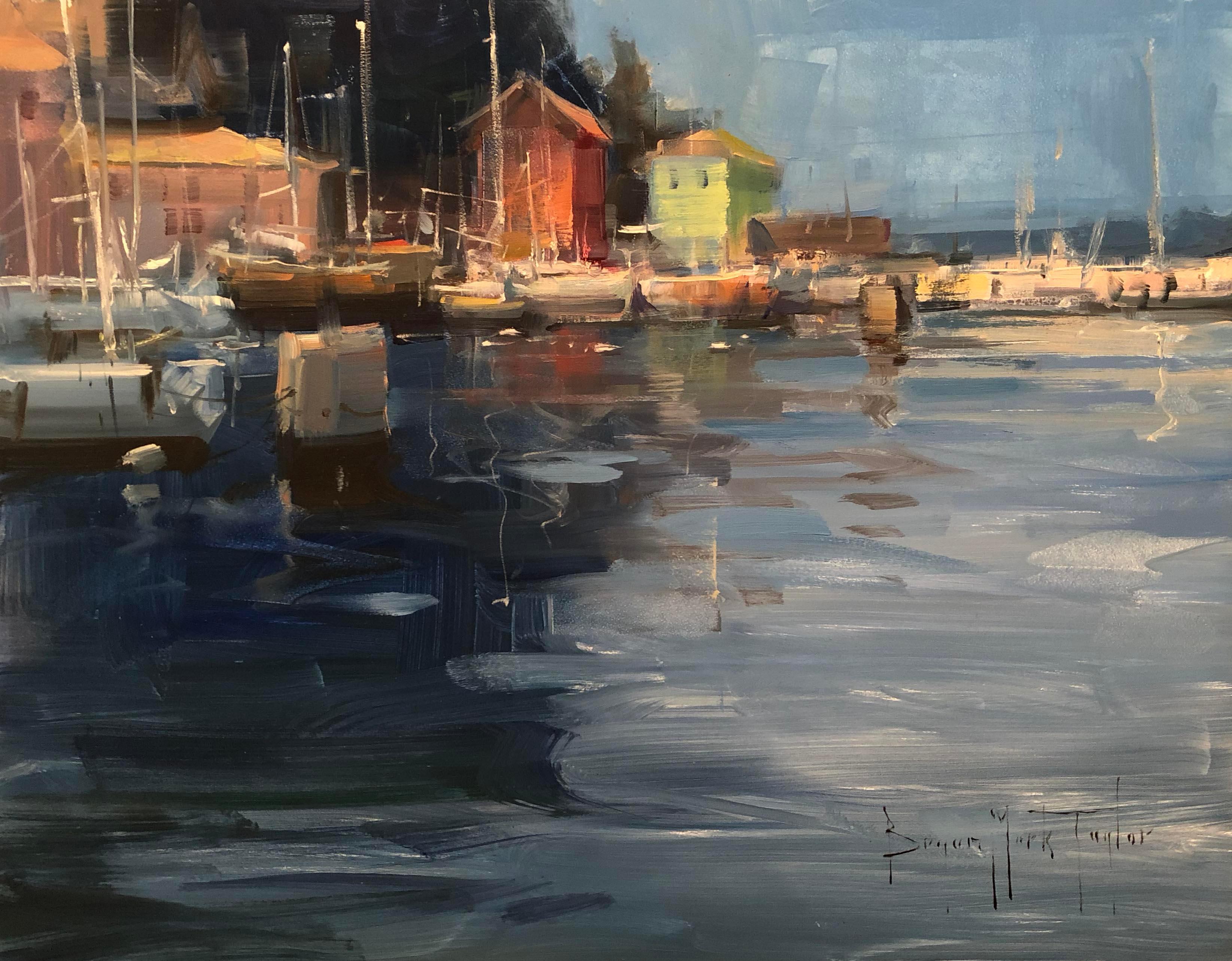 "Modern Impressionist European Scene ""Piran Harbor"" Plein Air Oil"
