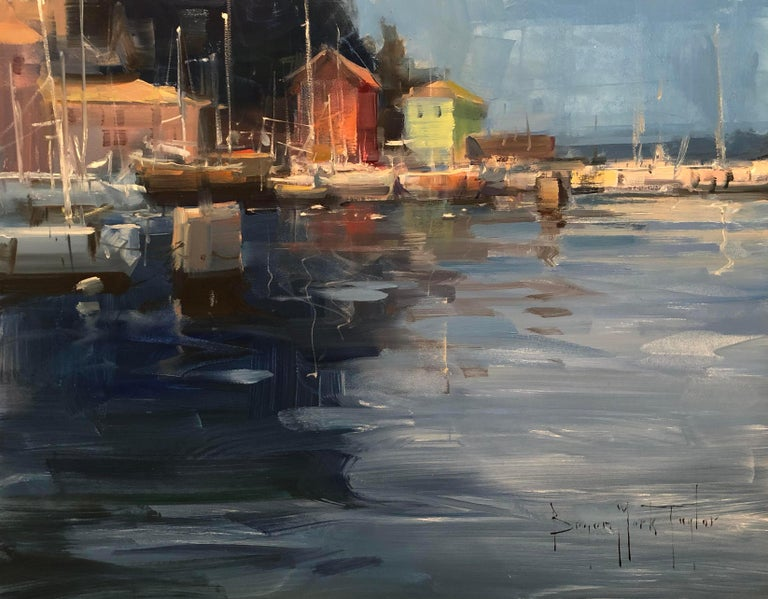 "Bryan Mark Taylor Landscape Painting - Modern Impressionist European Scene ""Piran Harbor"" Plein Air Oil"