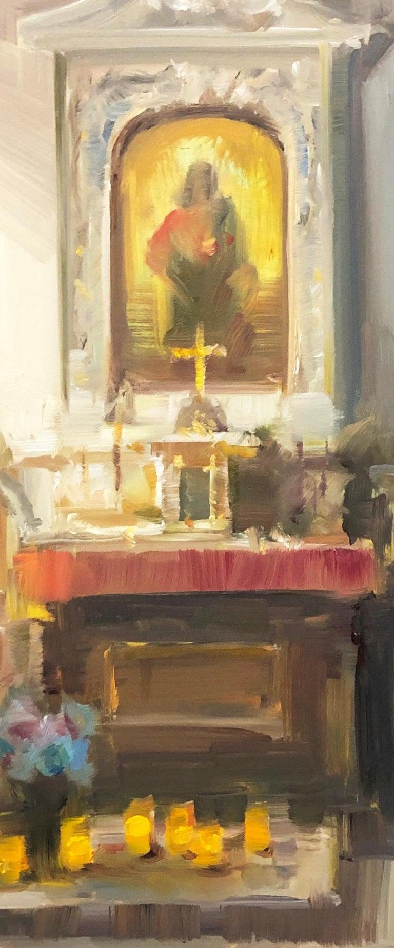 Modern Impressionist French Church Plein air oil Interior