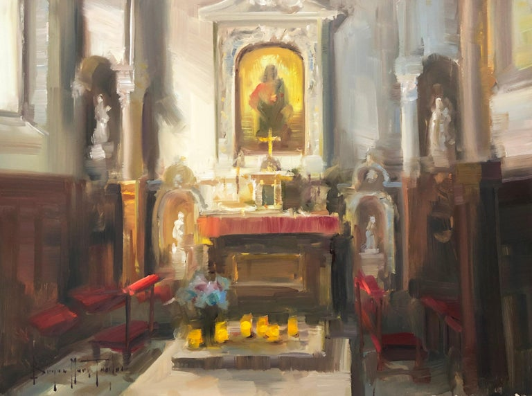 "Bryan Mark Taylor Landscape Painting - Modern Impressionist French Church Plein air oil Interior ""Contemplation"""