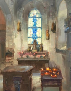 "Modern Impressionist French Church Plein air oil Interior ""Inner Light"""