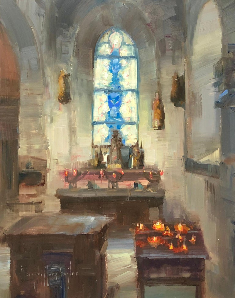 "Bryan Mark Taylor Landscape Painting - Modern Impressionist French Church Plein air oil Interior ""Inner Light"""