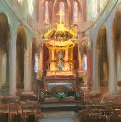 "Modern Impressionist French Church Plein air oil Interior ""Sacred Light"""
