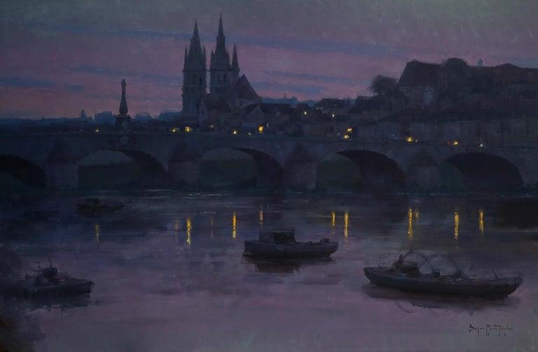 "Bryan Mark Taylor Landscape Painting - Modern Impressionist French Landscape oil ""The Evening Lights"""