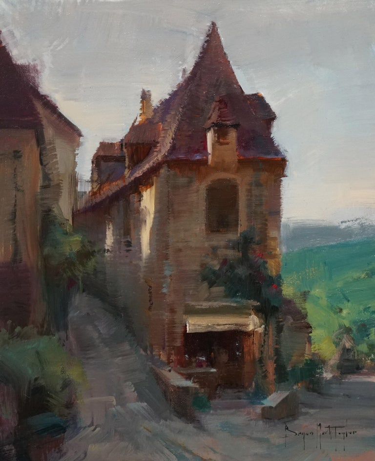 "Bryan Mark Taylor Landscape Painting - Modern Impressionist French Plein air Landscape oil ""Beynac Shop"""