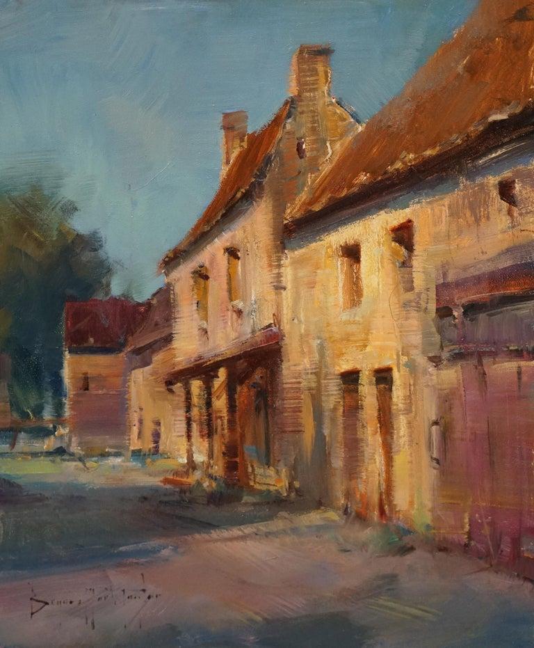 "Bryan Mark Taylor Landscape Painting - Modern Impressionist French Plein air Landscape oil ""Dordogne Farmhouse"""
