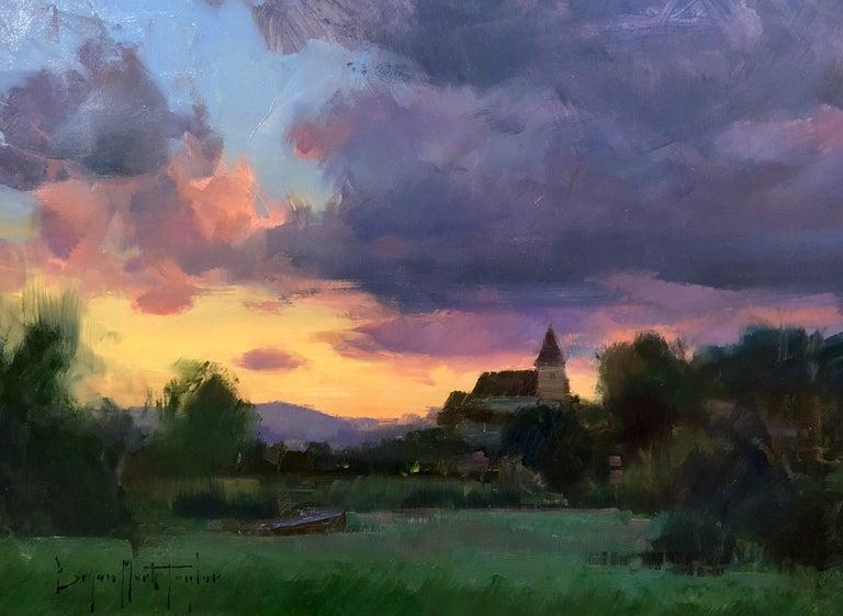 "Bryan Mark Taylor Landscape Painting - Modern Impressionist French Plein air Landscape oil ""Dordogne Sunset"""""