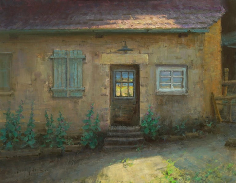 """Bryan Mark Taylor Landscape Painting - Modern Impressionist French Plein air Landscape oil """"French Country House"""""""""""