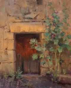"""Modern Impressionist French Plein air Landscape oil """"French Hollyhocks"""""""