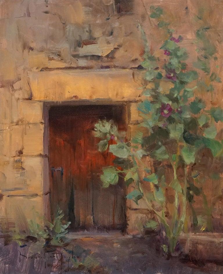 "Bryan Mark Taylor Landscape Painting - Modern Impressionist French Plein air Landscape oil ""French Hollyhocks"""
