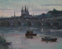 "Modern Impressionist French Plein air Landscape oil ""Loire River Twilight"""