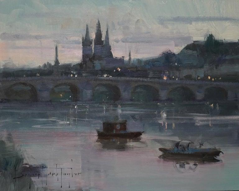 "Bryan Mark Taylor Landscape Painting - Modern Impressionist French Plein air Landscape oil ""Loire River Twilight"""