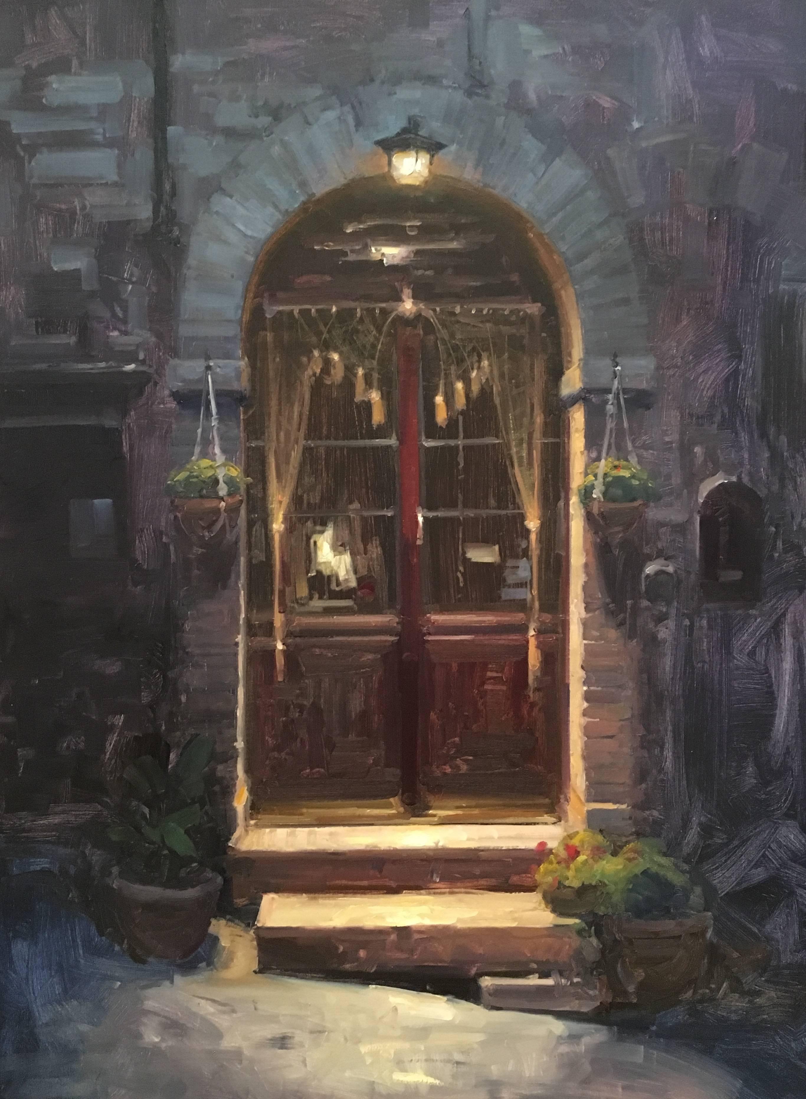 "Modern Impressionist Italian Street Scene ""Quiet Entry"" Oil,  Bryan Mark Taylor"