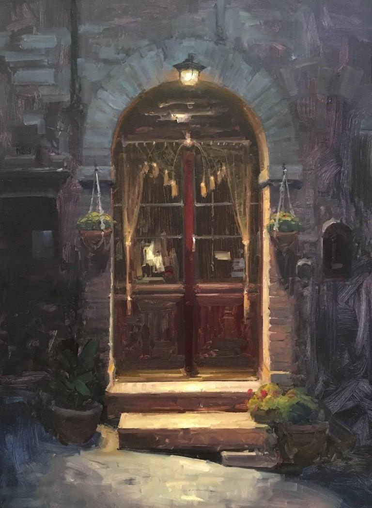 "Modern Impressionist Italian Street Scene ""Quiet Entry"" Oil,  Bryan Mark Taylor - Painting by Bryan Mark Taylor"