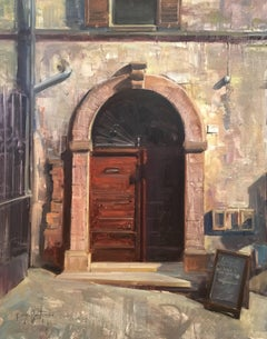"Modern Impressionist Italy Cityscape ""Closed For Lunch"" Oil,  Bryan Mark Taylor"