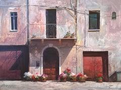 "Modern Impressionist Italy Street ""Old World Flowers"" Oil,  Bryan Mark Taylor"