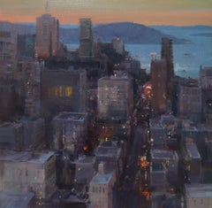 """Modern Impressionist San Francisco Cityscape """"View From The Top"""" Plein Air Oil"""
